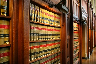 Bookshelf with legal books